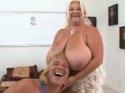 Chubby old mom with huge boobs plays with her boy