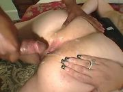 Fat whore gets cumload on huge ass