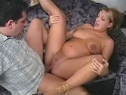 Man hard fucking pregnant blonde babe on sofa
