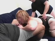 Big blonde makes sex with two dudes