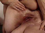 Hunk fucks obese busty woman on bed