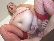 Obese blonde mature jumps on dick