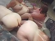 Four superfat lezzies enjoy dildoes