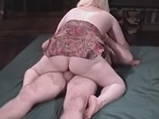 Paunchy blonde woman fucks in hotel