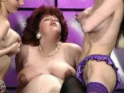 Chubby pregnant lady caressed by horny lesbians