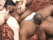 Interracial men share black fatty