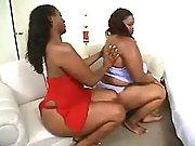 Two ebony busty fatties having fun
