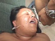 Latin BBW with round tits gets cum from black guy
