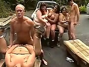 Super fat road sluts in crazy orgy