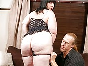 Horny BBW brunette got her curves and holes explored by a big hung hunk
