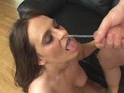 Horny plump girl gets cum on face