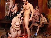 She gives a blowjob as the BBW orgy goes on around her and then she gets slammed hard