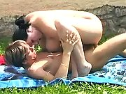 Chubby brunette rides strong cock in nature