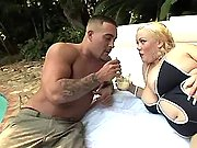 Man spoils chubby blonde in nature