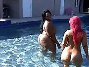 Fat black sluts have fun in pool