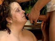 Lusty mature BBW gets cum on face