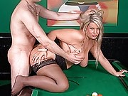 Glamorous-looking chunky blonde with great tits and ass plundered on a pool table