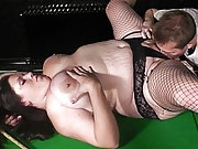 Slutty fattie in super hot fishnets seduces a married pool coach on table