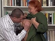 Old librarian fatty sucks hard cock