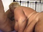 Old flabby lady sucks fresh cock