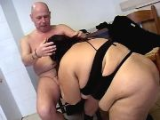 Enormous whore sucks cock of man