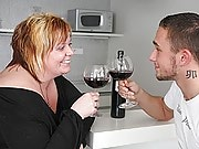 She easily lures him away from his girlfriend, gives him wine, and has BBW sex with the guy