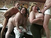 This is the best fat girl party ever with three big sluts getting busy with horny guys
