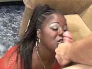 Large ebony vixen gets cum on face