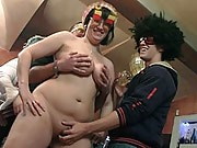 The BBW party slut gives a blowjob and bends over to get it in her pussy at the orgy
