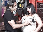 Chubby brunette barmaid in sexy nylons got banged at her workplace by client