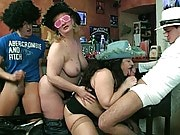 The chubby party babes at this crazy hot orgy let the guys get up inside them, especially blondie