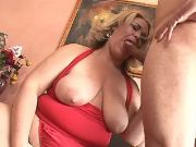 Chubby mature sucks appetizing cock