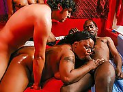 Ebon BBW gets plowed hard by 4 different guys at once