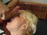Blonde plumper gets cumload on face