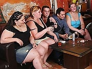 The many fat girls drinking at the bar get excited for some fun and give head throughout