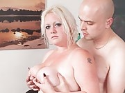 Chunky blonde with tats sucks and fucks a guy who came to fix her sex toy